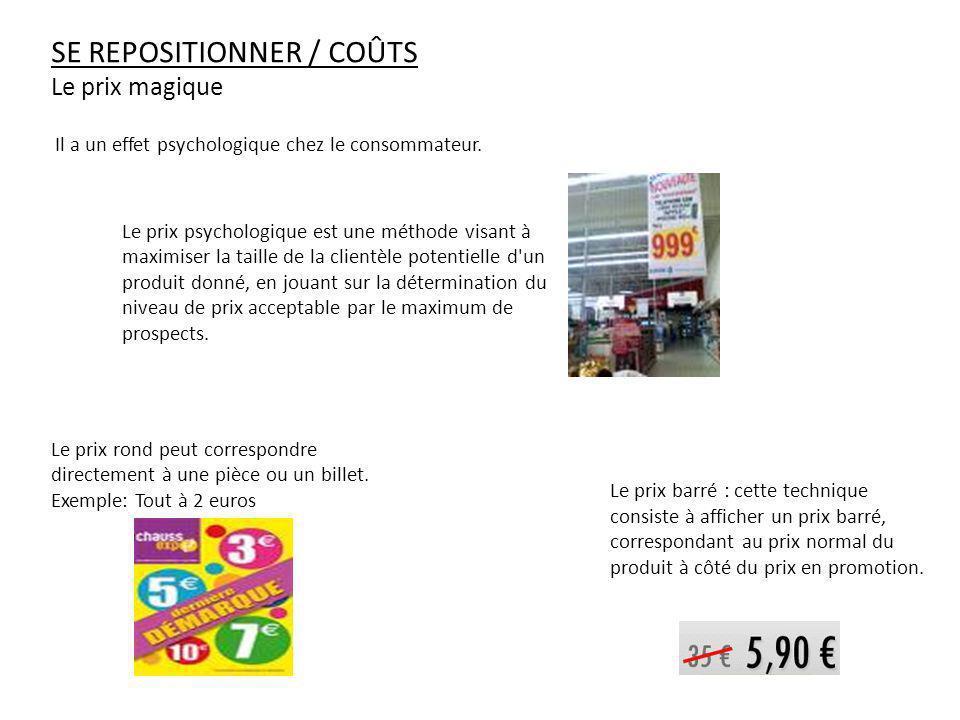 SE REPOSITIONNER / COÛTS Le prix magique Le prix rond peut correspondre directement à une pièce ou un billet. Exemple: Tout à 2 euros Il a un effet ps