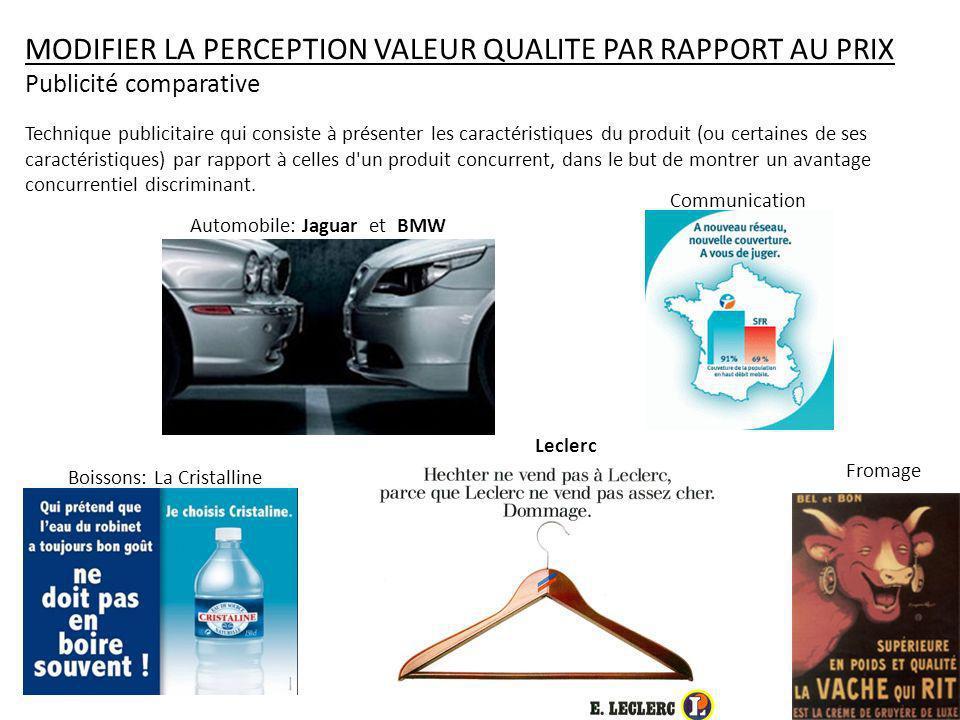 Automobile: Jaguar et BMW Communication Boissons: La Cristalline Fromage MODIFIER LA PERCEPTION VALEUR QUALITE PAR RAPPORT AU PRIX Publicité comparati