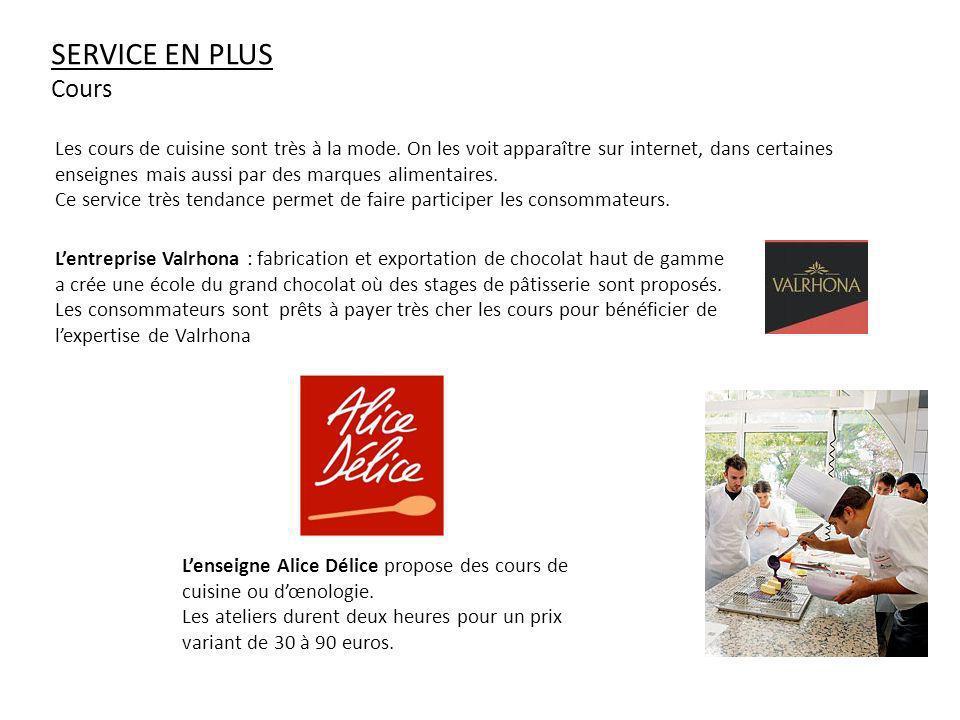 SERVICE EN PLUS Cours Lentreprise Valrhona : fabrication et exportation de chocolat haut de gamme a crée une école du grand chocolat où des stages de pâtisserie sont proposés.