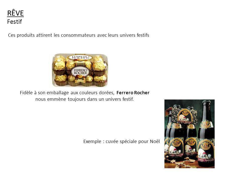 Fidèle à son emballage aux couleurs dorées, Ferrero Rocher nous emmène toujours dans un univers festif. RÊVE Festif Exemple : cuvée spéciale pour Noël