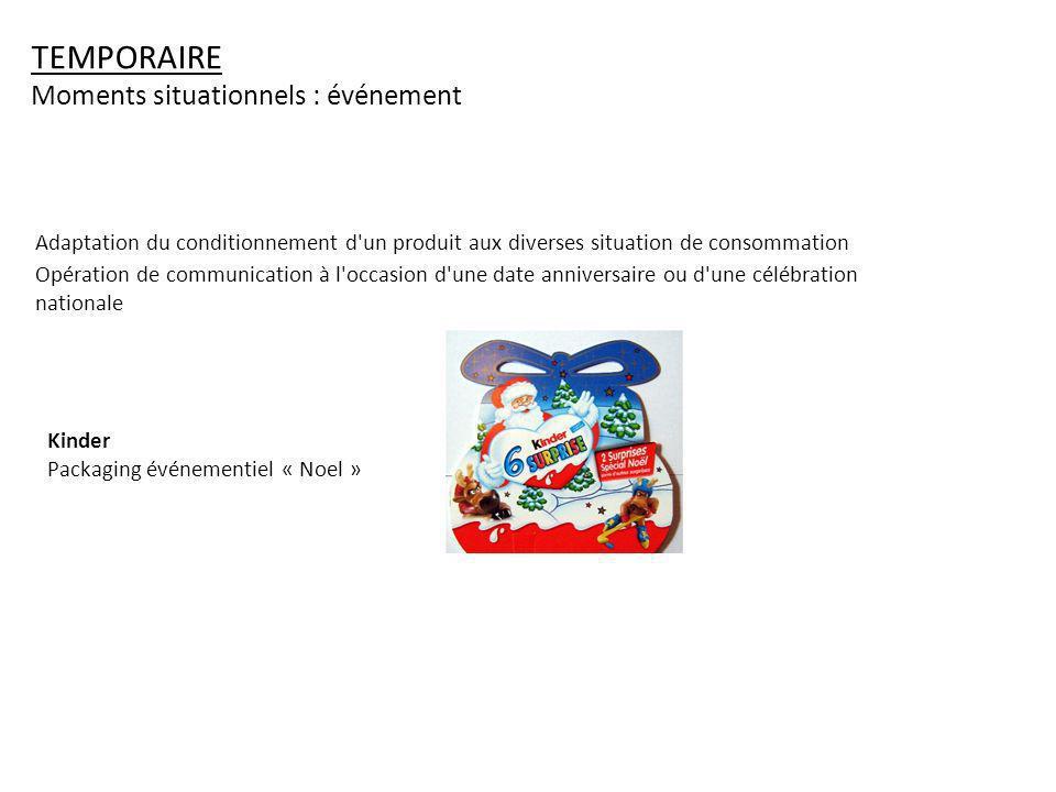 TEMPORAIRE Moments situationnels : événement Adaptation du conditionnement d'un produit aux diverses situation de consommation Opération de communicat
