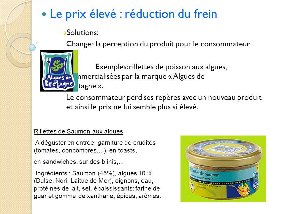 Le prix élevé : réduction du frein Solutions: Changer la perception du produit pour le consommateur Exemples: rillettes de poisson aux algues, commerc