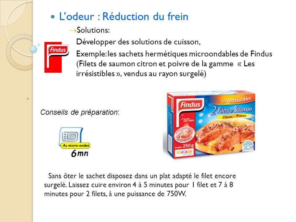 Lodeur : Réduction du frein Solutions: Développer des solutions de cuisson, Exemple: les sachets hermétiques microondables de Findus (Filets de saumon
