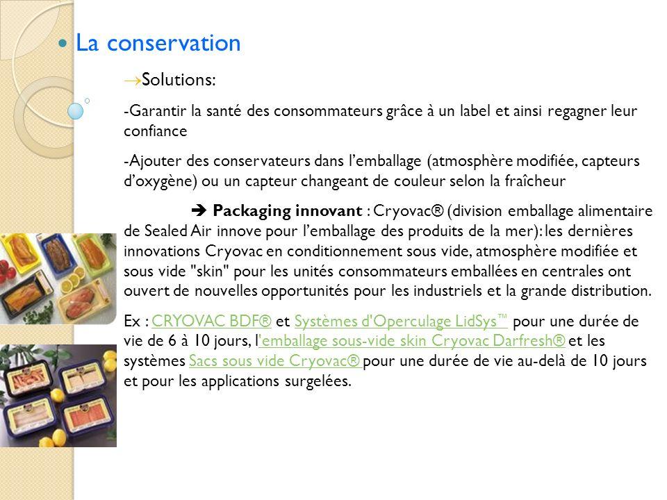 La conservation Solutions: -Garantir la santé des consommateurs grâce à un label et ainsi regagner leur confiance -Ajouter des conservateurs dans lemb