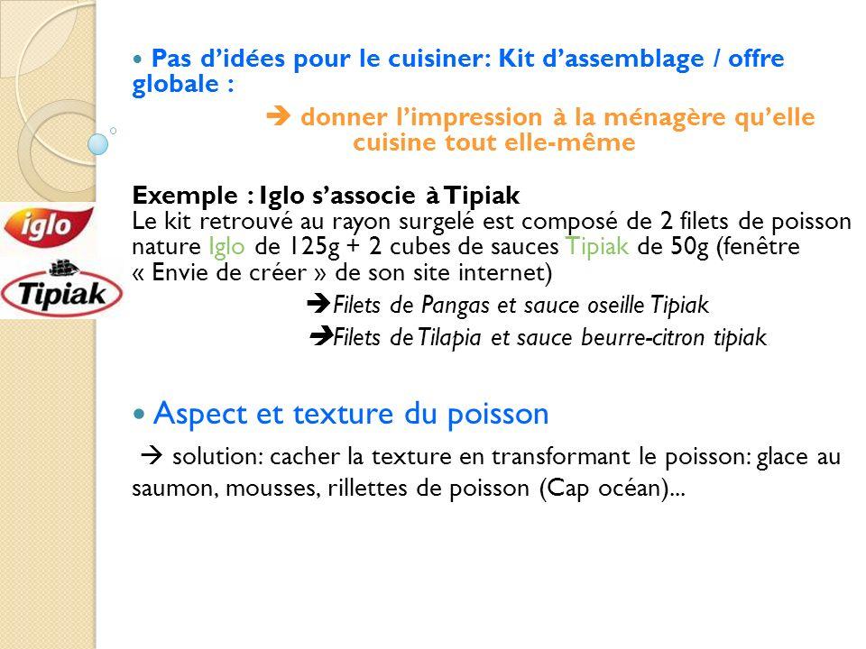 Pas didées pour le cuisiner: Kit dassemblage / offre globale : donner limpression à la ménagère quelle cuisine tout elle-même Exemple : Iglo sassocie