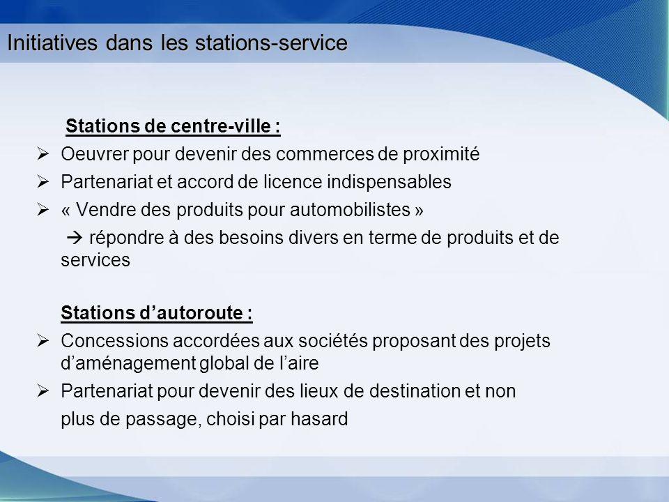 Initiatives dans les stations-service Stations de centre-ville : Oeuvrer pour devenir des commerces de proximité Partenariat et accord de licence indi
