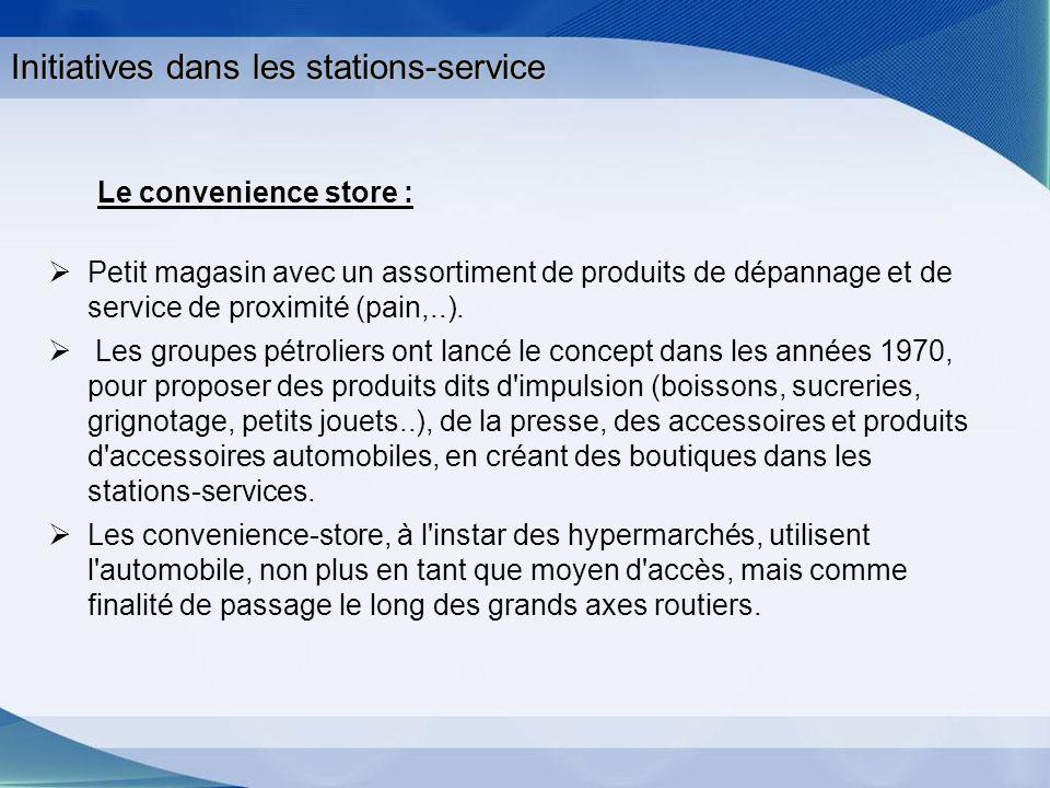 Initiatives dans les stations-service Le convenience store : Petit magasin avec un assortiment de produits de dépannage et de service de proximité (pa