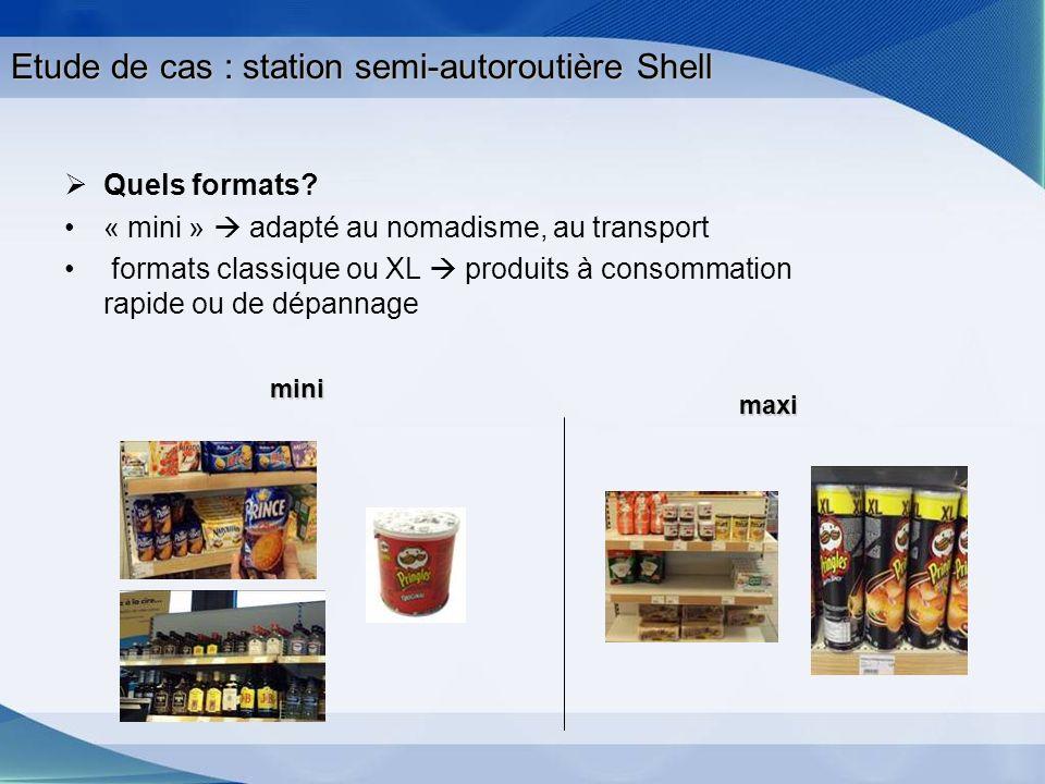 Etude de cas : station semi-autoroutière Shell Quels formats? « mini » adapté au nomadisme, au transport formats classique ou XL produits à consommati