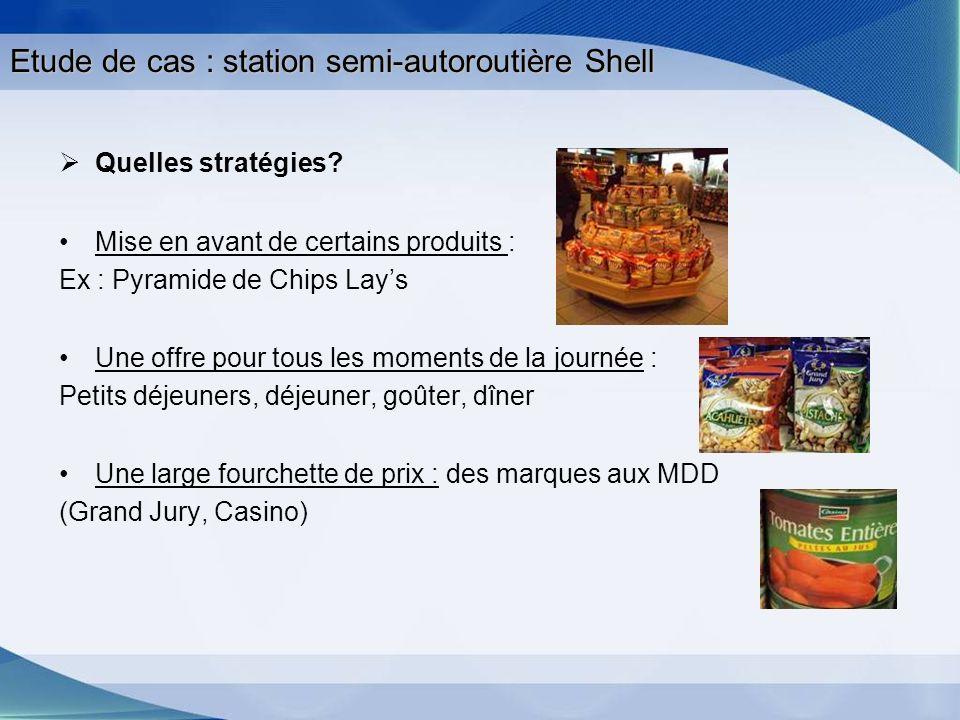 Etude de cas : station semi-autoroutière Shell Quelles stratégies? Mise en avant de certains produits : Ex : Pyramide de Chips Lays Une offre pour tou