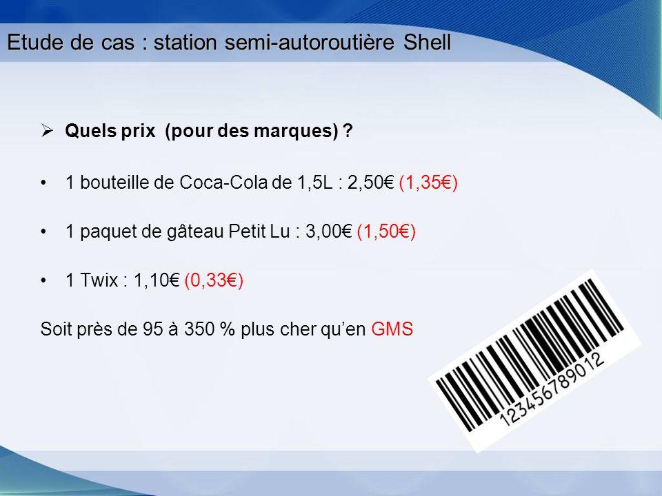 Etude de cas : station semi-autoroutière Shell Quels prix (pour des marques) ? 1 bouteille de Coca-Cola de 1,5L : 2,50 (1,35) 1 paquet de gâteau Petit