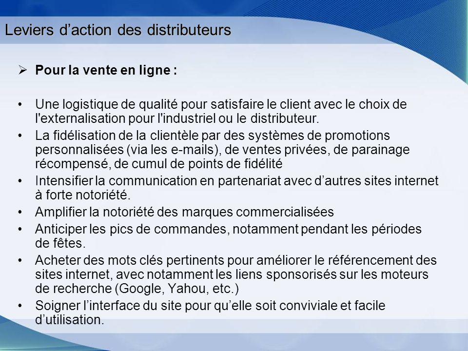 Leviers daction des distributeurs Pour la vente en ligne : Une logistique de qualité pour satisfaire le client avec le choix de l'externalisation pour