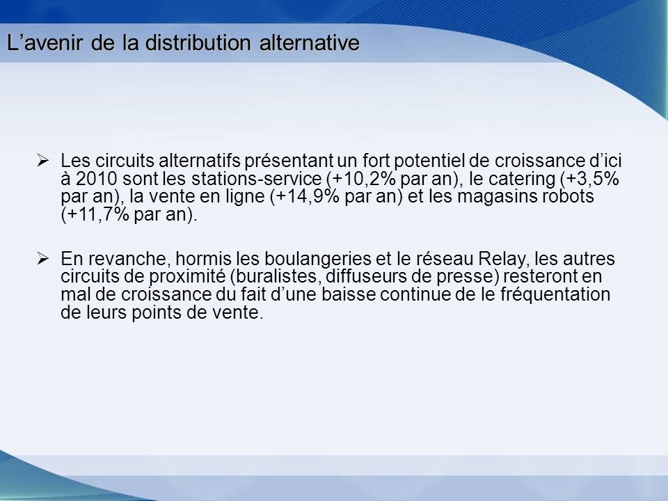 Lavenir de la distribution alternative Les circuits alternatifs présentant un fort potentiel de croissance dici à 2010 sont les stations-service (+10,