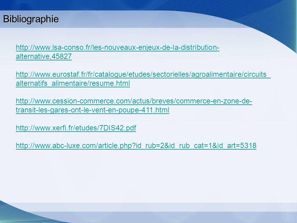 Bibliographie http://www.lsa-conso.fr/les-nouveaux-enjeux-de-la-distribution- alternative,45827 http://www.eurostaf.fr/fr/catalogue/etudes/sectorielle