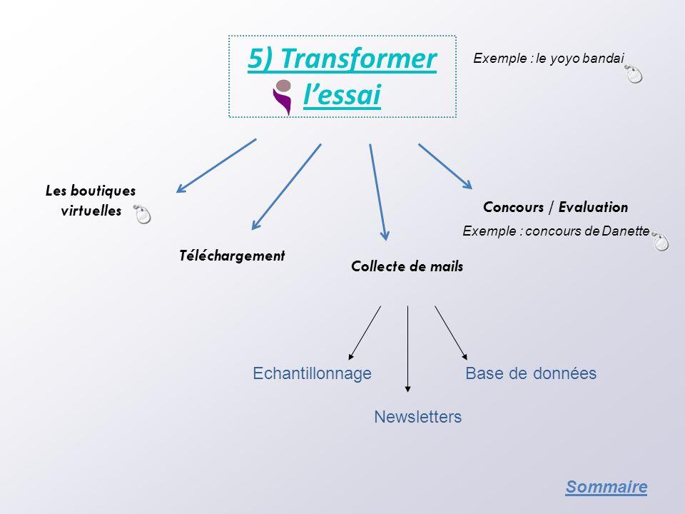 5) Transformer lessai Les boutiques virtuelles Echantillonnage Téléchargement Newsletters Base de données Concours / Evaluation Collecte de mails Exem