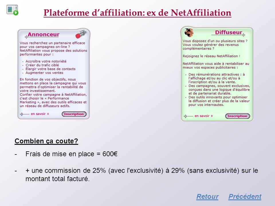 Plateforme daffiliation: ex de NetAffiliation Combien ça coute? -Frais de mise en place = 600 -+ une commission de 25% (avec l'exclusivité) à 29% (san