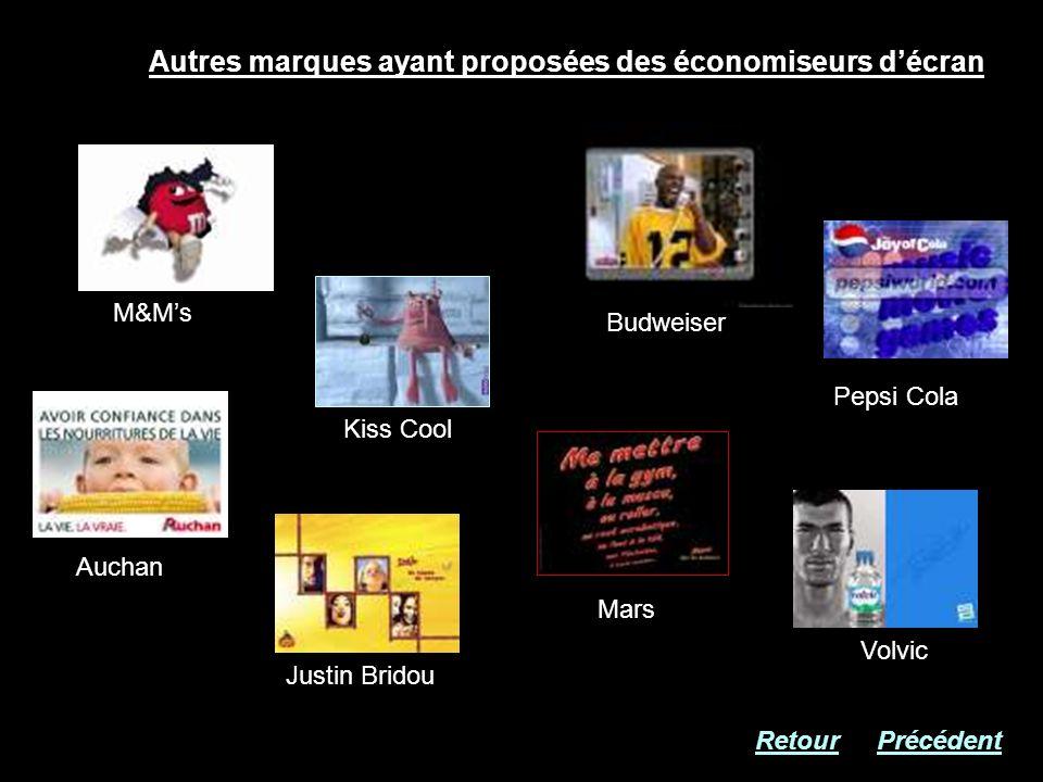 Autres marques ayant proposées des économiseurs décran M&Ms Kiss Cool Justin Bridou Auchan Budweiser Mars Pepsi Cola Volvic RetourPrécédent
