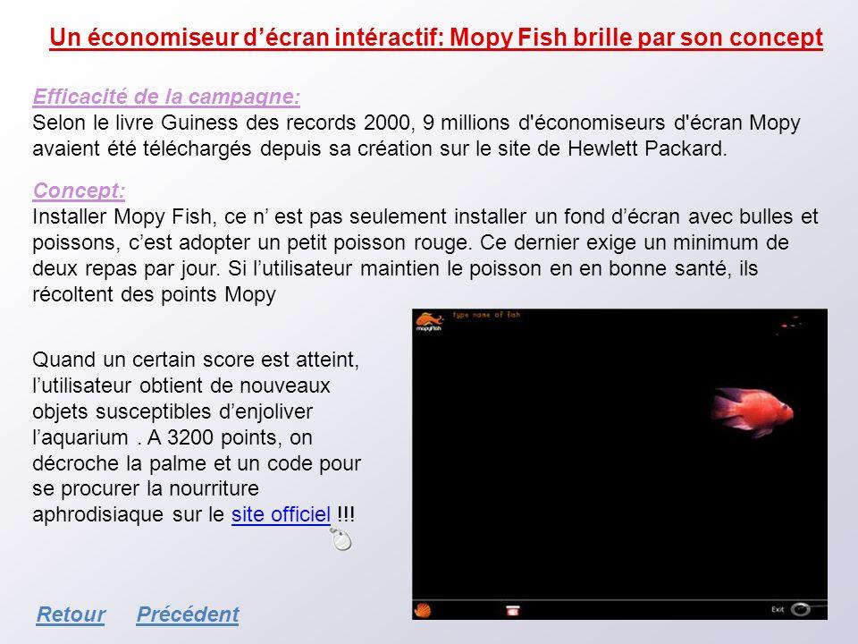 Un économiseur décran intéractif: Mopy Fish brille par son concept Efficacité de la campagne: Selon le livre Guiness des records 2000, 9 millions d'éc