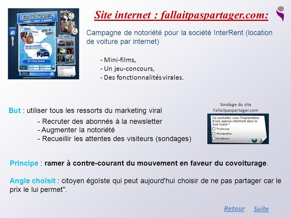 Site internet : fallaitpaspartager.com: Campagne de notoriété pour la société InterRent (location de voiture par internet) - Mini-films, - Un jeu-conc