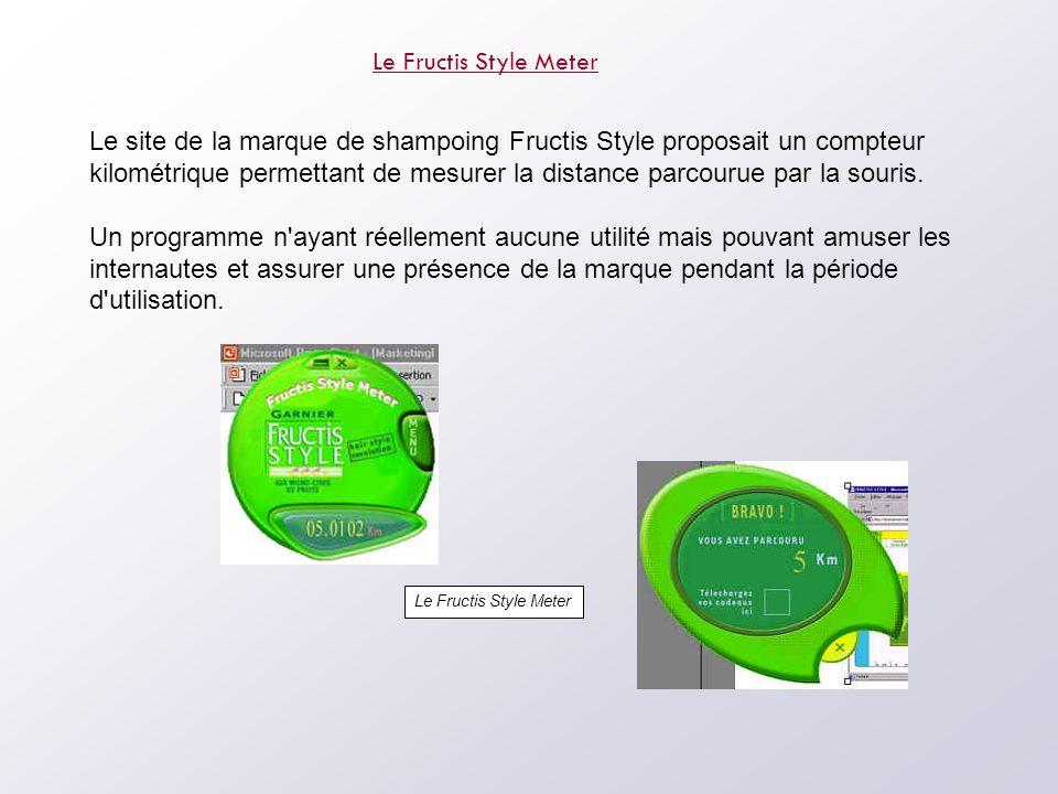 Le Fructis Style Meter Le site de la marque de shampoing Fructis Style proposait un compteur kilométrique permettant de mesurer la distance parcourue