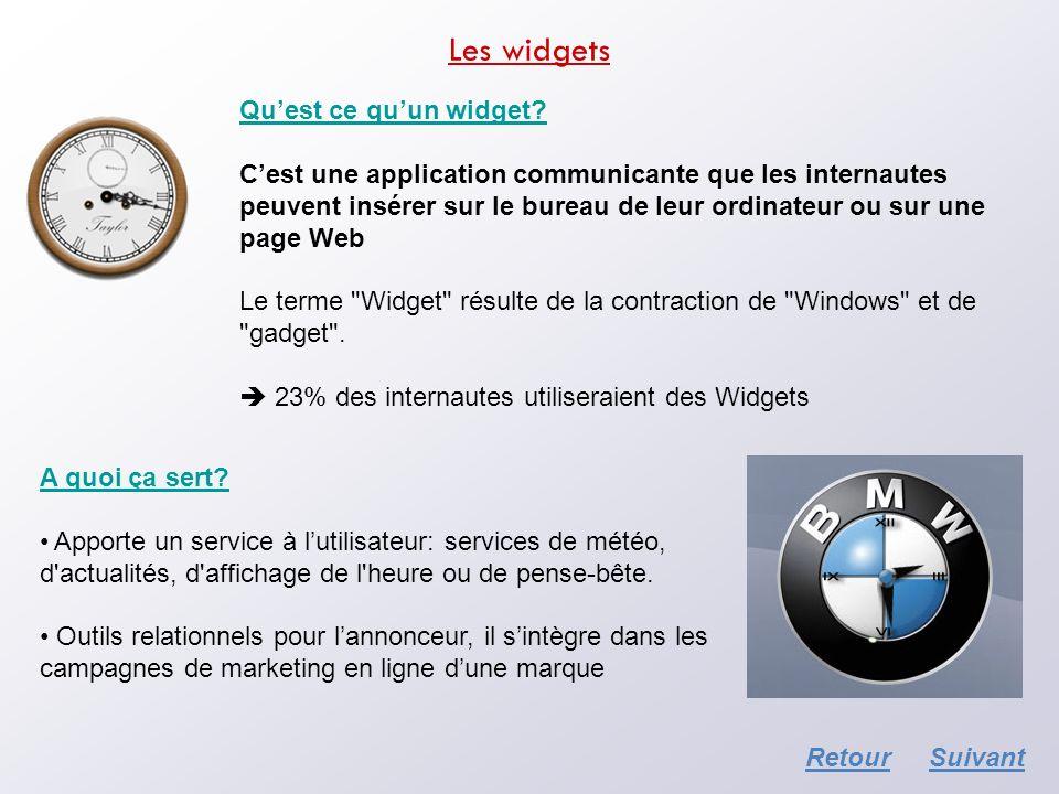 Les widgets Quest ce quun widget? Cest une application communicante que les internautes peuvent insérer sur le bureau de leur ordinateur ou sur une pa