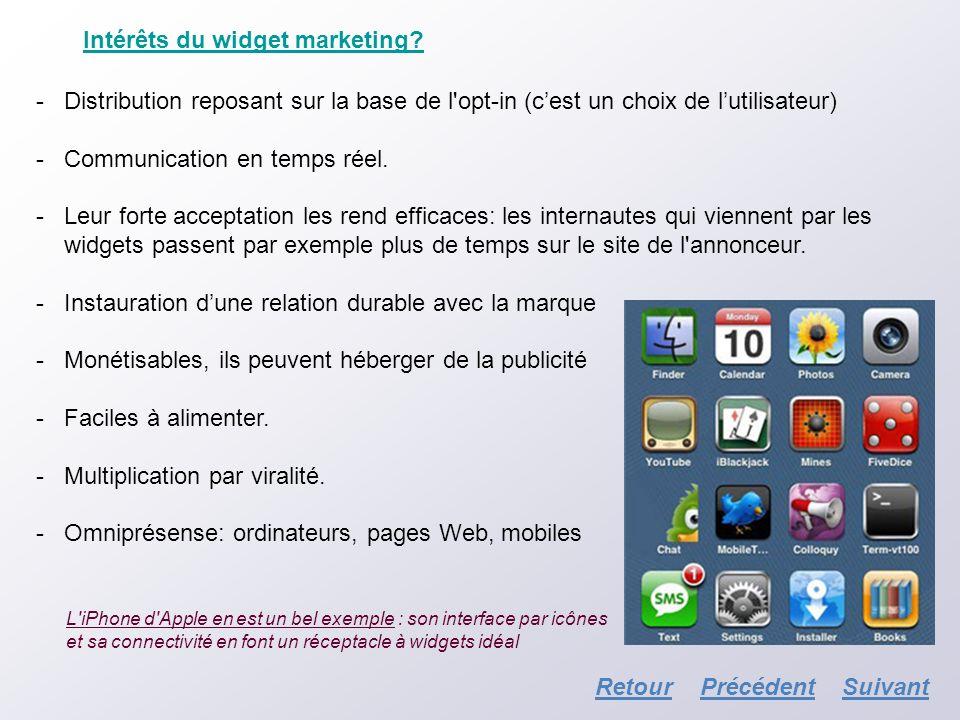 Intérêts du widget marketing? -Distribution reposant sur la base de l'opt-in (cest un choix de lutilisateur) -Communication en temps réel. -Leur forte