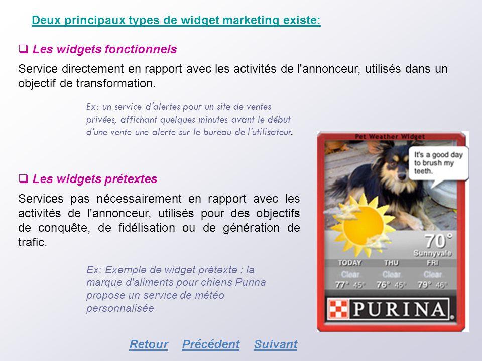 Deux principaux types de widget marketing existe: Les widgets fonctionnels Service directement en rapport avec les activités de l'annonceur, utilisés