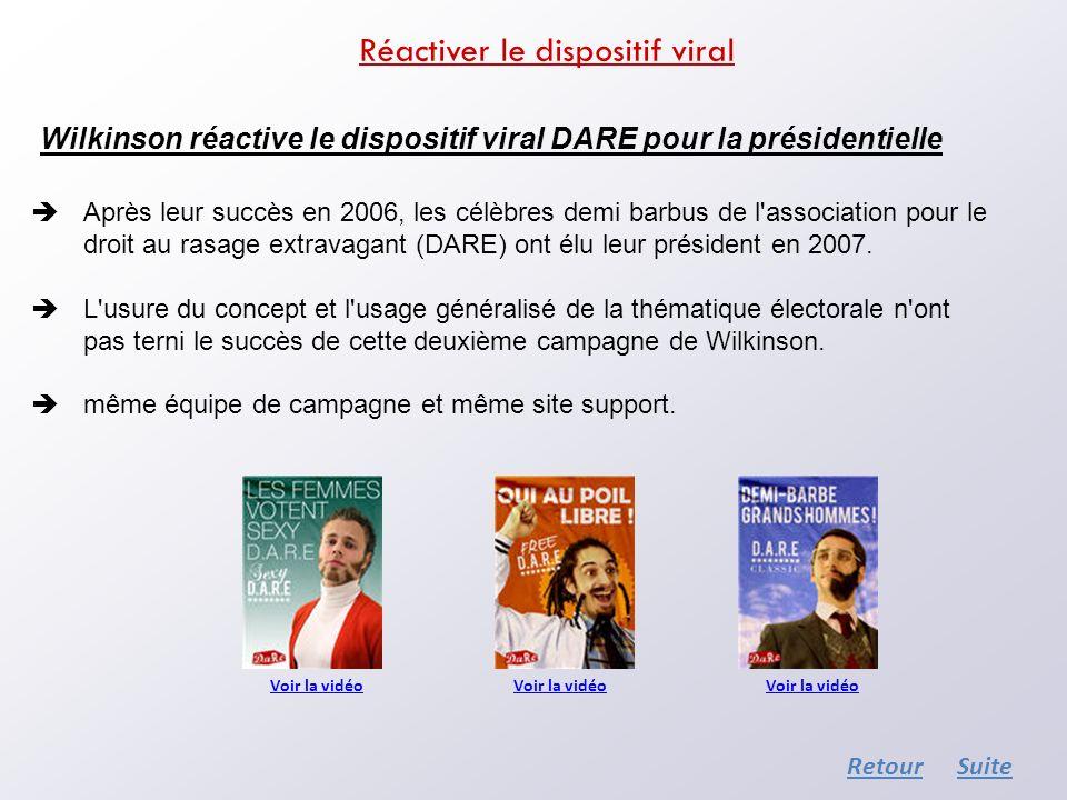 Wilkinson réactive le dispositif viral DARE pour la présidentielle Après leur succès en 2006, les célèbres demi barbus de l'association pour le droit