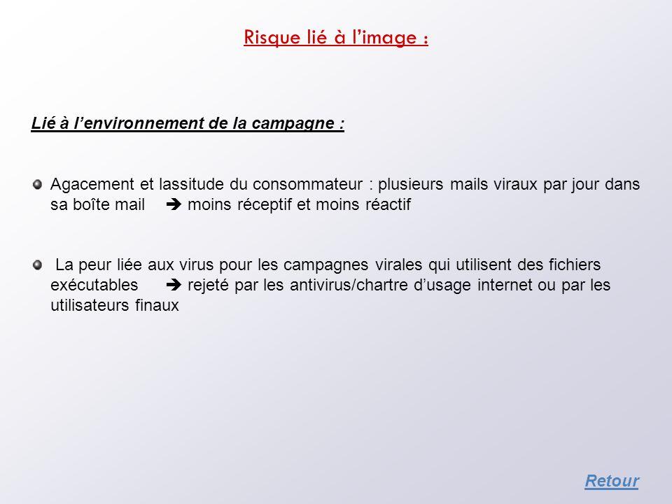 Lié à lenvironnement de la campagne : Agacement et lassitude du consommateur : plusieurs mails viraux par jour dans sa boîte mail moins réceptif et mo