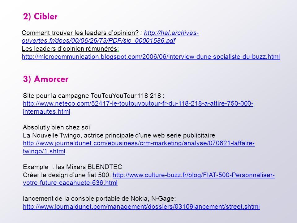 2) Cibler Comment trouver les leaders dopinion? : http://hal.archives- ouvertes.fr/docs/00/06/26/73/PDF/sic_00001586.pdfhttp://hal.archives- ouvertes.