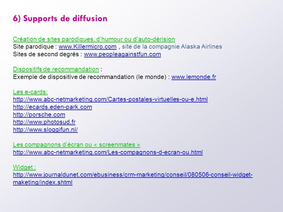 6) Supports de diffusion Création de sites parodiques, dhumour ou dauto-dérision Site parodique : www.Killermicro.com, site de la compagnie Alaska Air