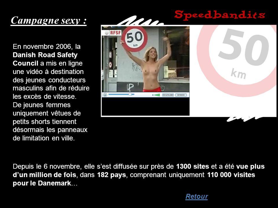 Campagne sexy : En novembre 2006, la Danish Road Safety Council a mis en ligne une vidéo à destination des jeunes conducteurs masculins afin de réduir