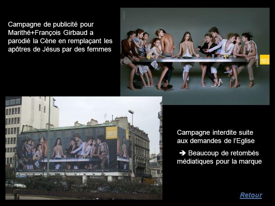 Campagne de publicité pour Marithé+François Girbaud a parodié la Cène en remplaçant les apôtres de Jésus par des femmes Campagne interdite suite aux d