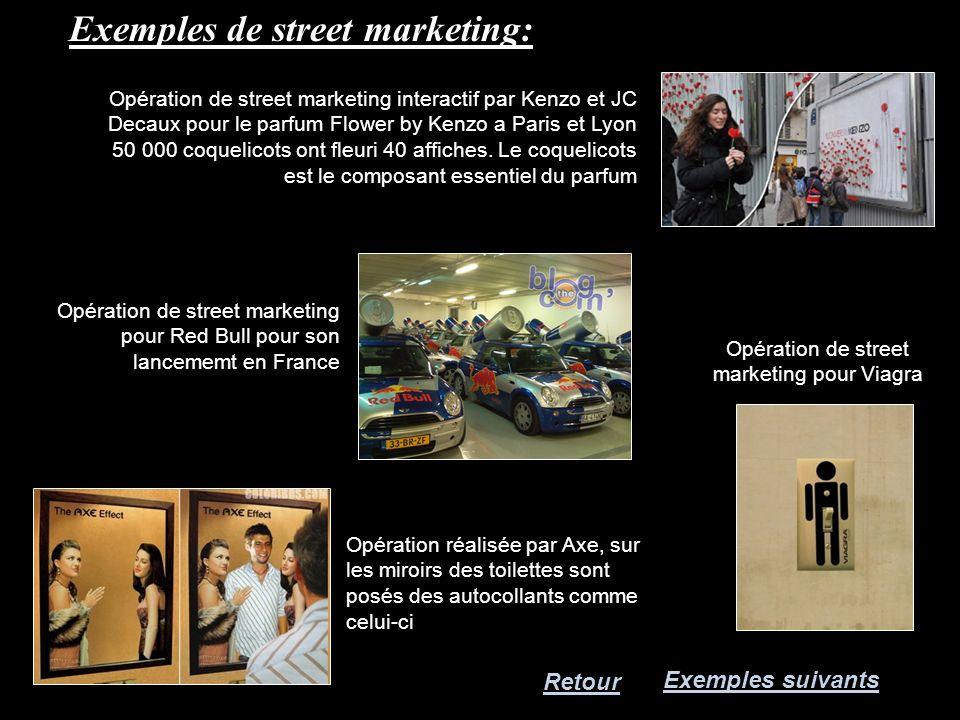 Exemples de street marketing: Retour Exemples suivants Opération de street marketing pour Viagra Opération réalisée par Axe, sur les miroirs des toile