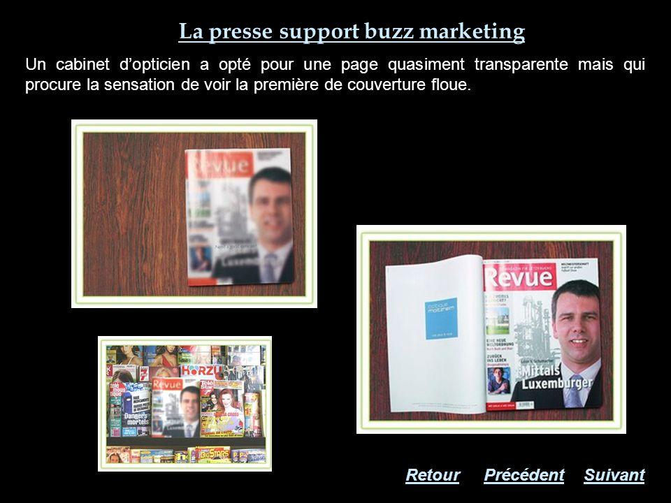 La presse support buzz marketing Un cabinet dopticien a opté pour une page quasiment transparente mais qui procure la sensation de voir la première de