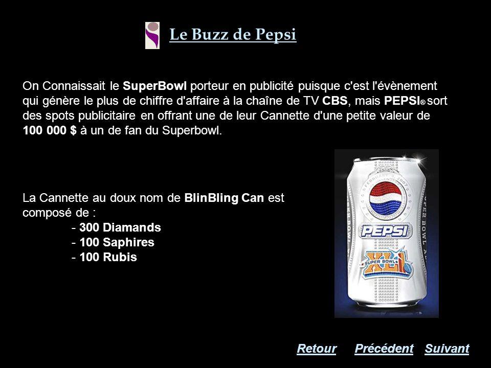 La Cannette au doux nom de BlinBling Can est composé de : - 300 Diamands - 100 Saphires - 100 Rubis On Connaissait le SuperBowl porteur en publicité p
