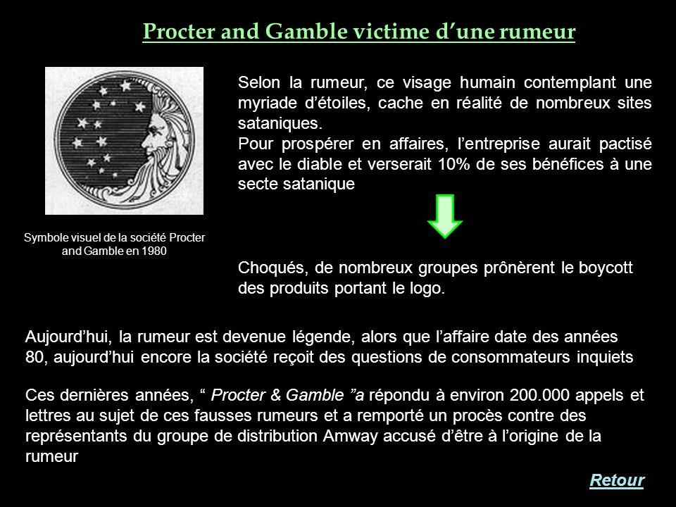 Procter and Gamble victime dune rumeur Ces dernières années, Procter & Gamble a répondu à environ 200.000 appels et lettres au sujet de ces fausses ru