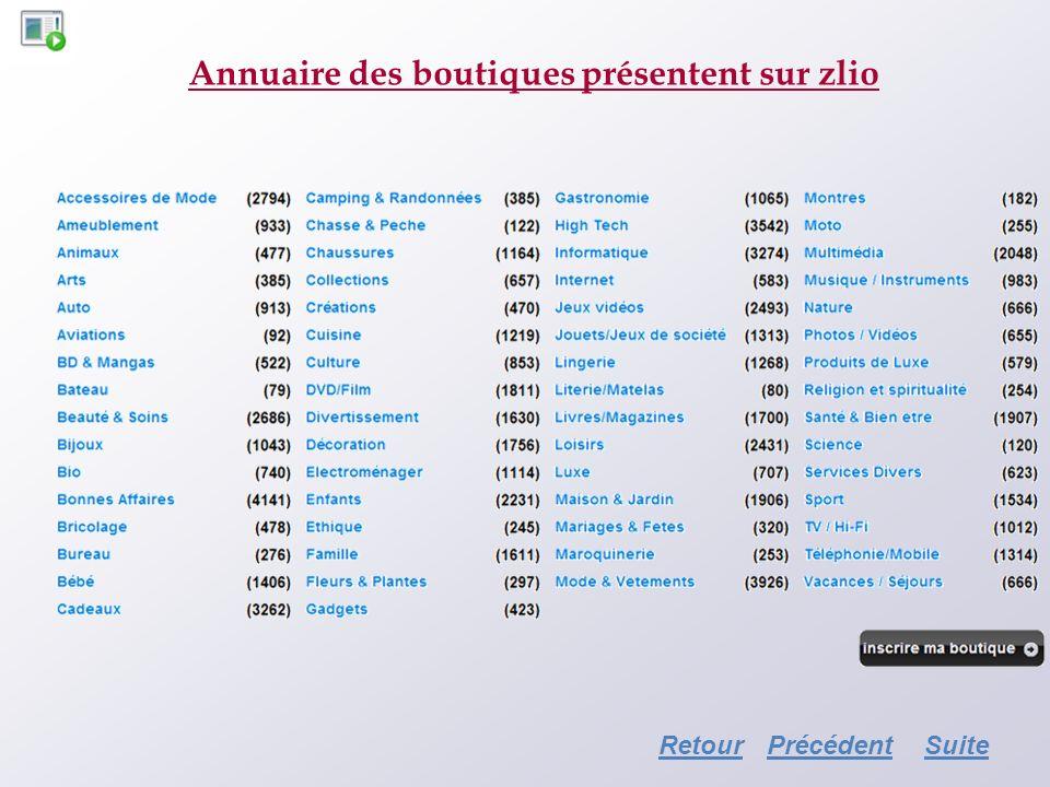 Annuaire des boutiques présentent sur zlio RetourSuitePrécédent
