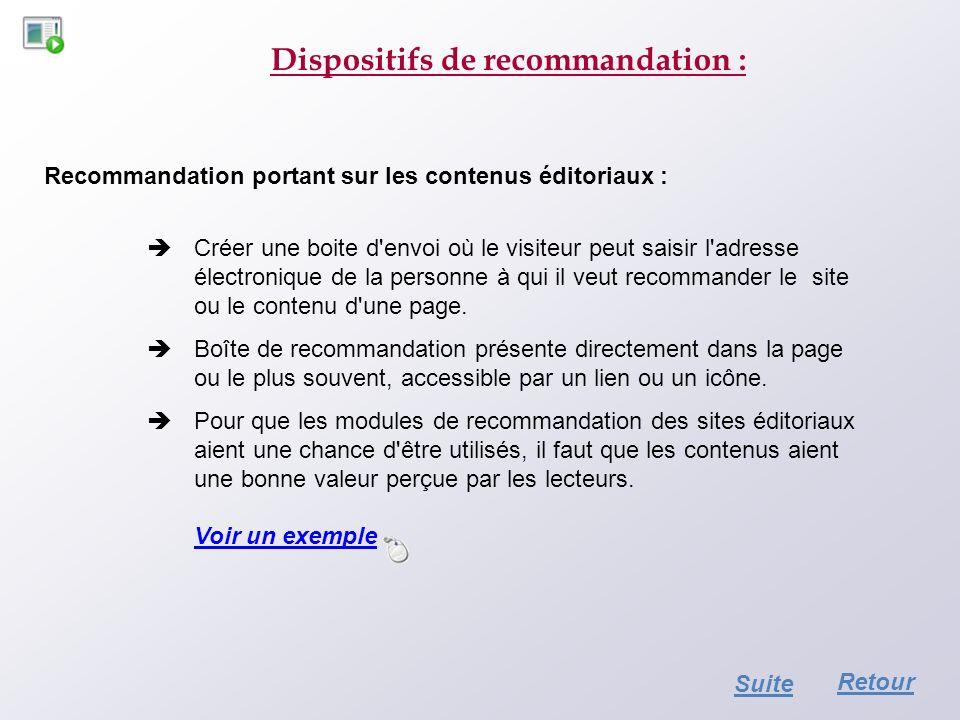 Dispositifs de recommandation : Recommandation portant sur les contenus éditoriaux : Créer une boite d'envoi où le visiteur peut saisir l'adresse élec