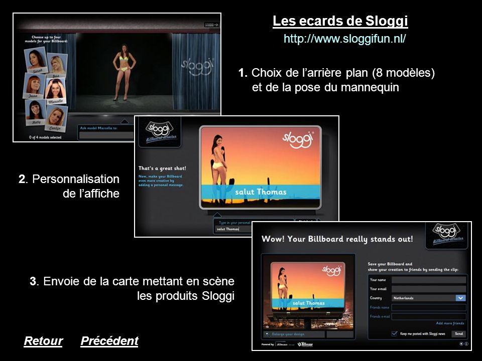 Les ecards de Sloggi 1. Choix de larrière plan (8 modèles) et de la pose du mannequin http://www.sloggifun.nl/ 2. Personnalisation de laffiche 3. Envo