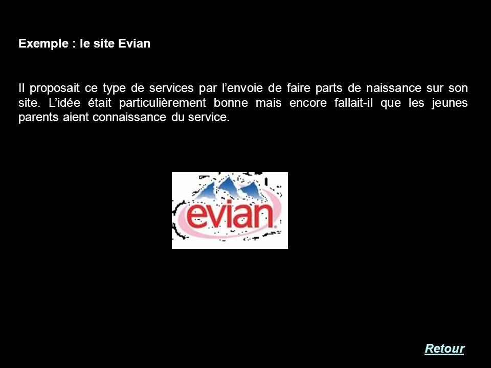 Exemple : le site Evian Il proposait ce type de services par lenvoie de faire parts de naissance sur son site. Lidée était particulièrement bonne mais