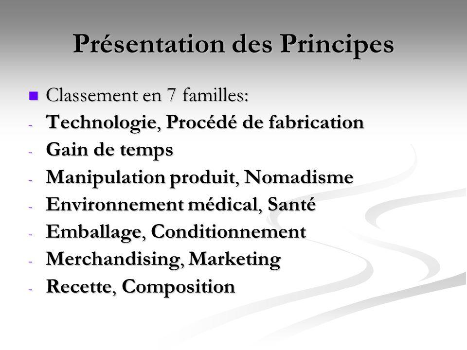 Présentation des Principes Classement en 7 familles: Classement en 7 familles: - Technologie, Procédé de fabrication - Gain de temps - Manipulation pr
