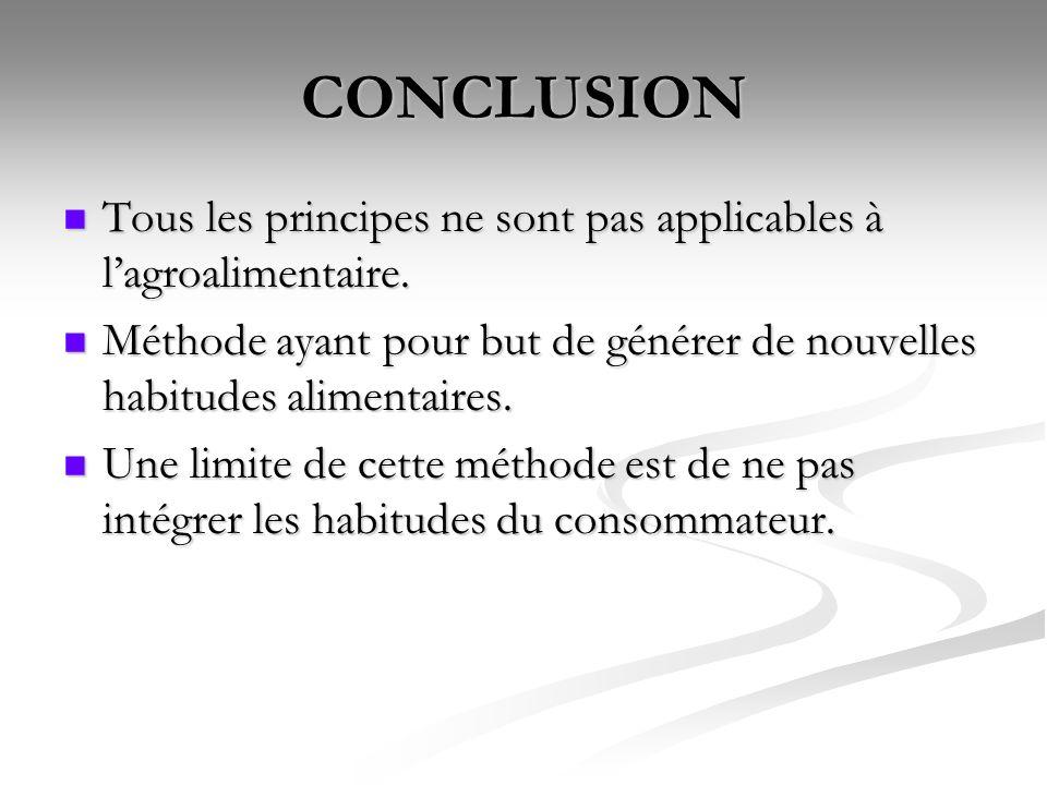 CONCLUSION Tous les principes ne sont pas applicables à lagroalimentaire. Tous les principes ne sont pas applicables à lagroalimentaire. Méthode ayant