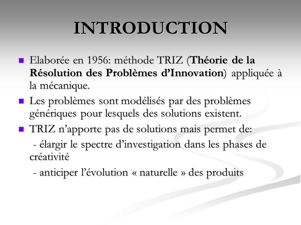 INTRODUCTION Elaborée en 1956: méthode TRIZ (Théorie de la Résolution des Problèmes dInnovation) appliquée à la mécanique. Elaborée en 1956: méthode T