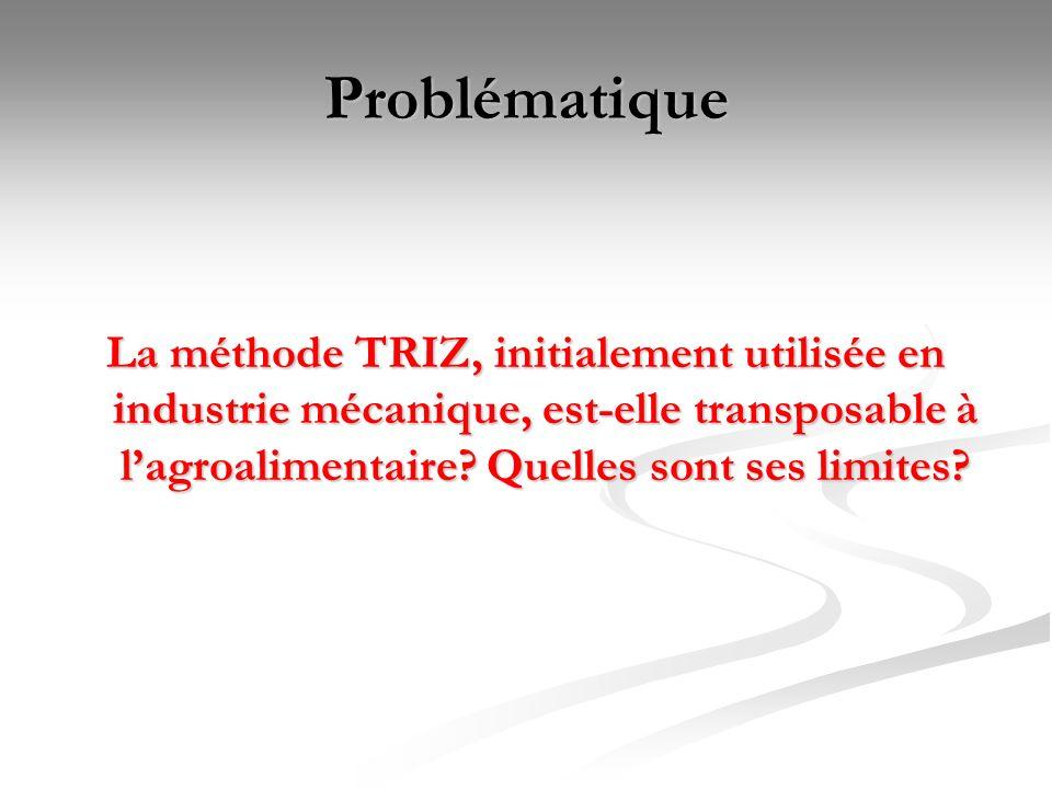 Problématique La méthode TRIZ, initialement utilisée en industrie mécanique, est-elle transposable à lagroalimentaire? Quelles sont ses limites?