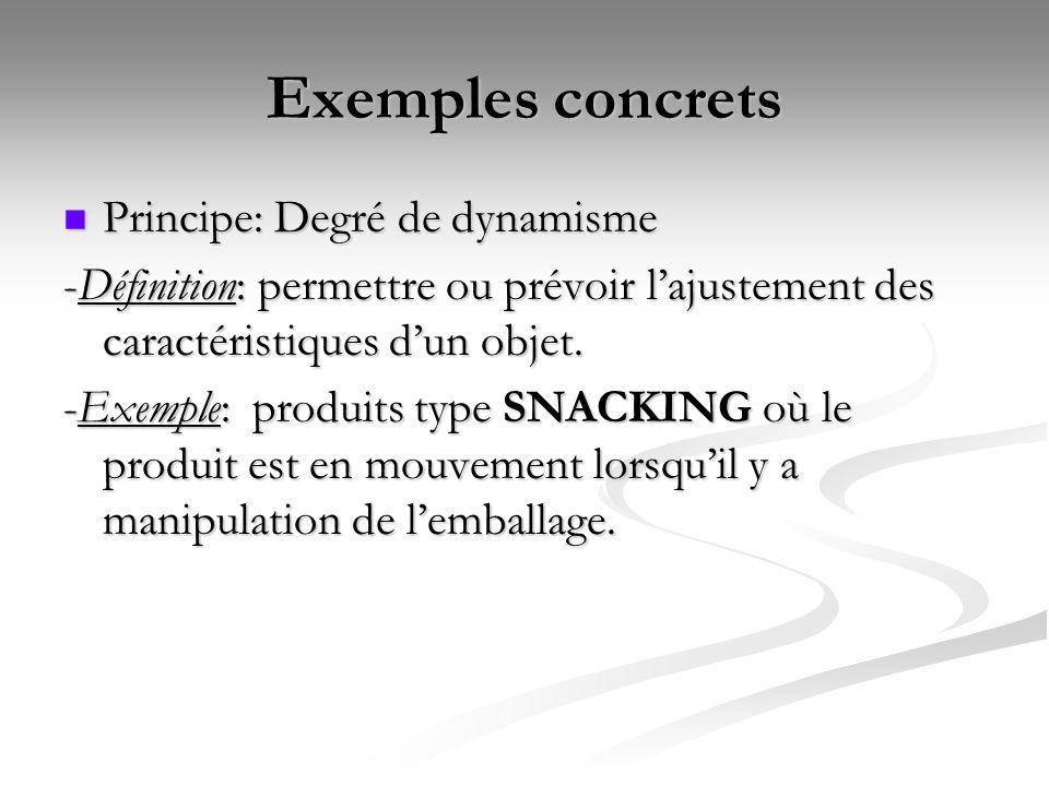 Exemples concrets Principe: Degré de dynamisme Principe: Degré de dynamisme -Définition: permettre ou prévoir lajustement des caractéristiques dun obj