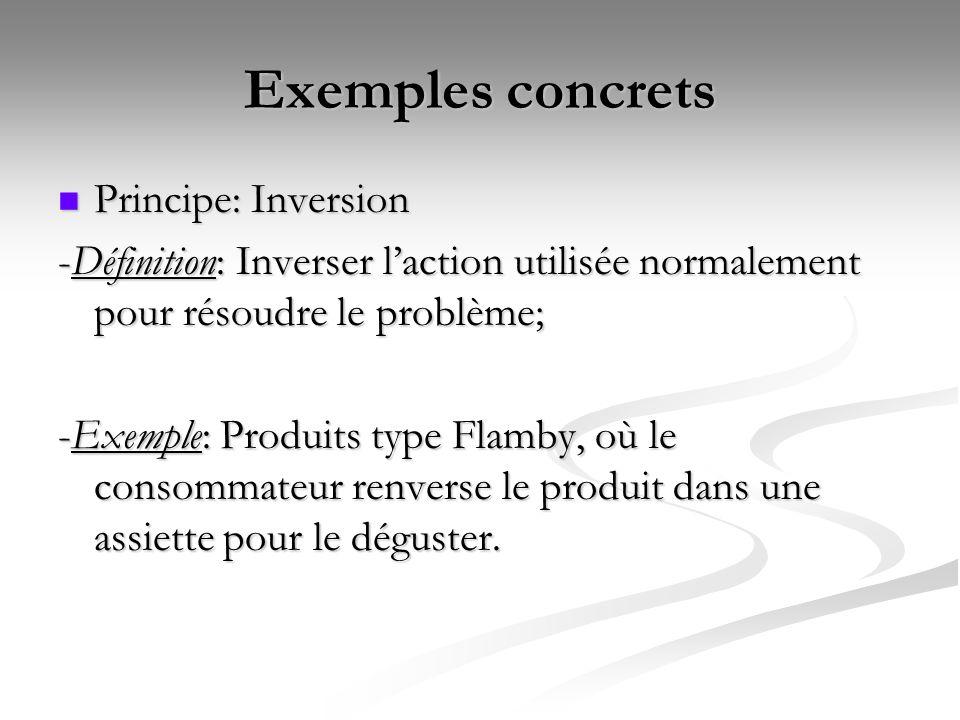 Exemples concrets Principe: Inversion Principe: Inversion -Définition: Inverser laction utilisée normalement pour résoudre le problème; -Exemple: Prod