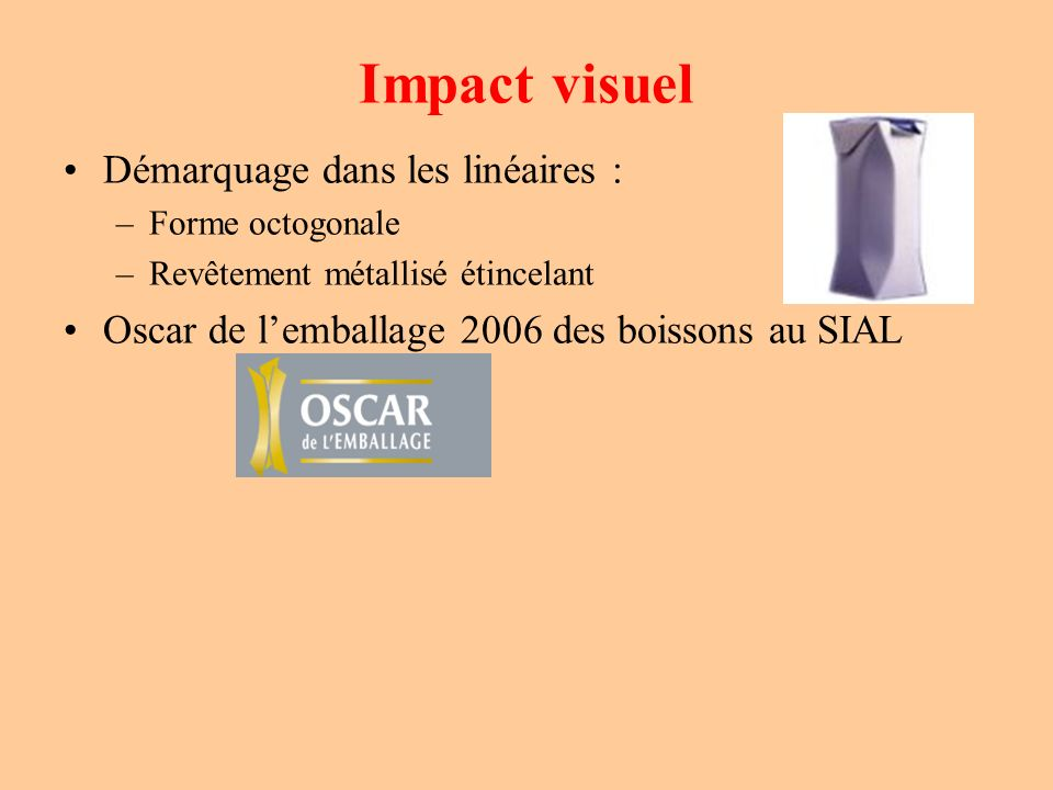 Impact visuel Démarquage dans les linéaires : –Forme octogonale –Revêtement métallisé étincelant Oscar de lemballage 2006 des boissons au SIAL