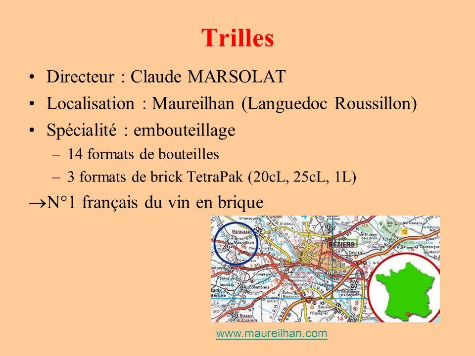 Trilles Directeur : Claude MARSOLAT Localisation : Maureilhan (Languedoc Roussillon) Spécialité : embouteillage –14 formats de bouteilles –3 formats d