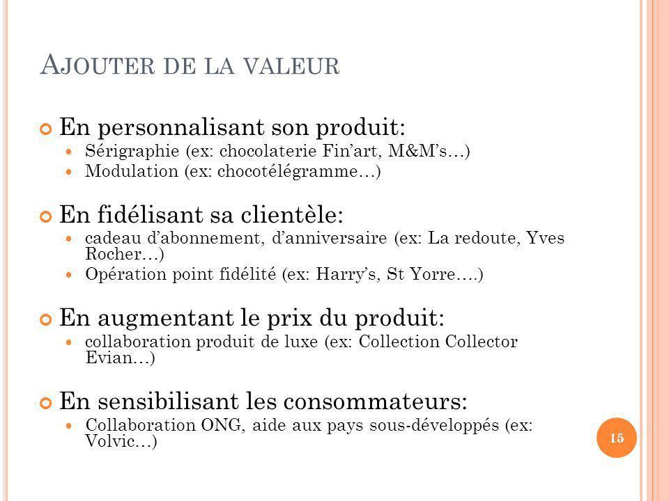 A JOUTER DE LA VALEUR En personnalisant son produit: Sérigraphie (ex: chocolaterie Finart, M&Ms…) Modulation (ex: chocotélégramme…) En fidélisant sa c