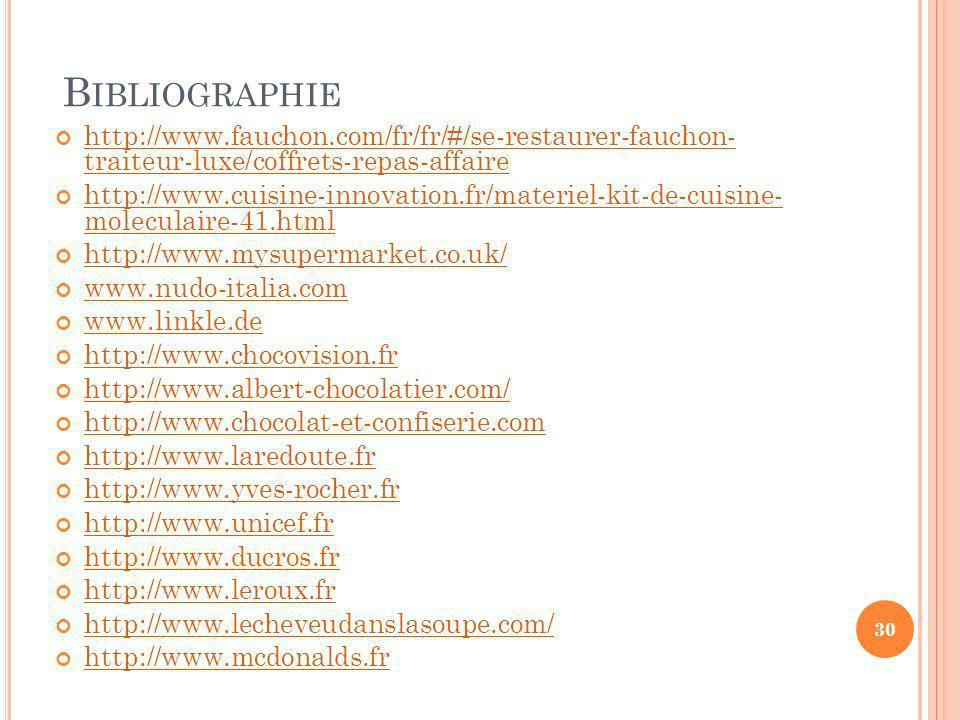 B IBLIOGRAPHIE http://www.fauchon.com/fr/fr/#/se-restaurer-fauchon- traiteur-luxe/coffrets-repas-affaire http://www.fauchon.com/fr/fr/#/se-restaurer-f